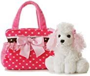Aurora World Fancy Pals Plush Pink Polka Dot Purse Pet Carrier with Dog