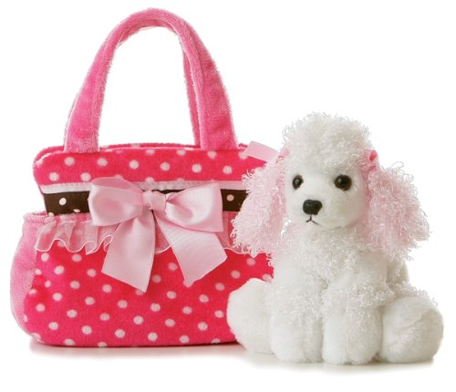 Aurora World Fancy Pals Plush Pink Polka Dot Purse Pet Carrier With Dog (Plush Poodle Purse)