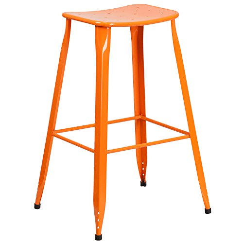 "Cheap Flash Furniture 29.75"" High Orange Metal Indoor-Outdoor Saddle Comfort Barstool"
