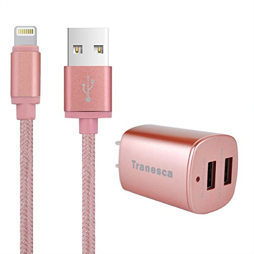 Tranesca Dual USB travel wall charger with foldable plug and 6ft lighting charging cable (Rose gold) Image