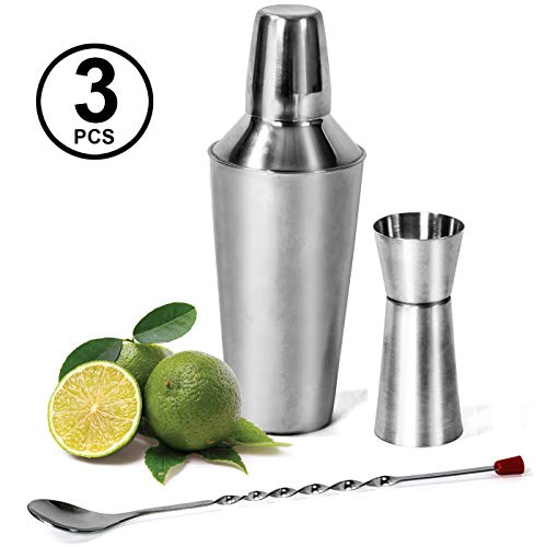 24 oz Cocktail Shaker - 3 Pc Set - Bar Tools - Martini Shaker, Built in Strainer, Mixing Spoon with Double Sided Jigger, Mirror Finished - Mojito Kit by Colleta Homes