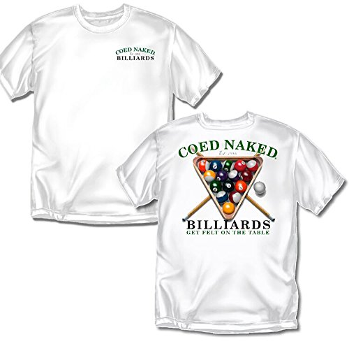 Billards T-Shirt: Coed Naked Billiards, White - XX-Large Coed Sportswear Football