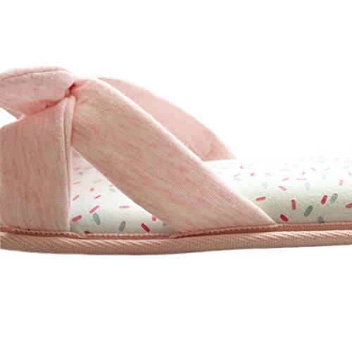 Bestfur Damestweefsel Katoen Traagschuim Wasbaar Comfortabel Huis Pantoffels Roze