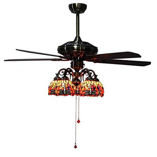 Makenier Vintage Tiffany Style Stained Glass 5-Light Dragonfly Downlight Ceiling Fan Light Kit, with Plywood Blades ()