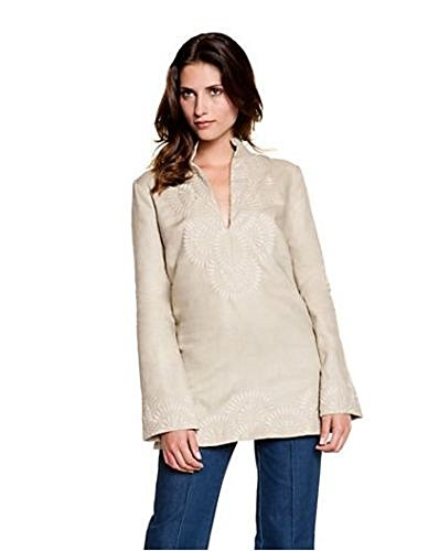 Tory Burch Embroidered Linen Tunic Top, French Khaki - Size - Tory Burch Inspired