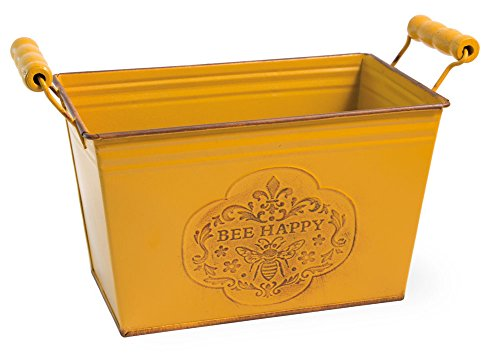 (Bee Happy Yellow Rectangle 10 x 6 Inch Metal Planter Tin with Handles)