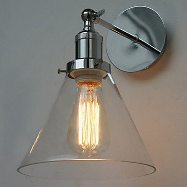 60W Art-Deco Wall Light with Glass Cone Shade Down: Amazon.co.uk ...