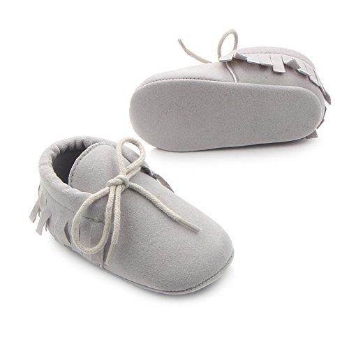 Etrack-OnlineMoccasins - botas sin cordones para niño gris claro