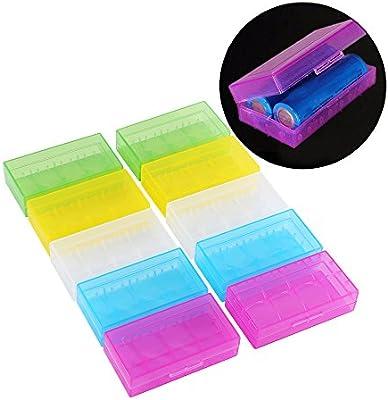 18650 Caja de batería, 10 Piezas Caja de Almacenamiento de Soporte de batería de plástico Transparente Multifuncional de 5 Colores para batería 18650 18350: Amazon.es: Electrónica