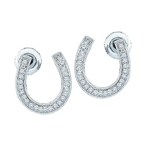 Horseshoe Ring Ladies Diamond (Jewels By Lux 10k White Gold Diamond Womens Horseshoe Lucky Screwback Stud Earrings 1/6 Cttw In Pave Setting (I2-I3 clarity; H-I color))