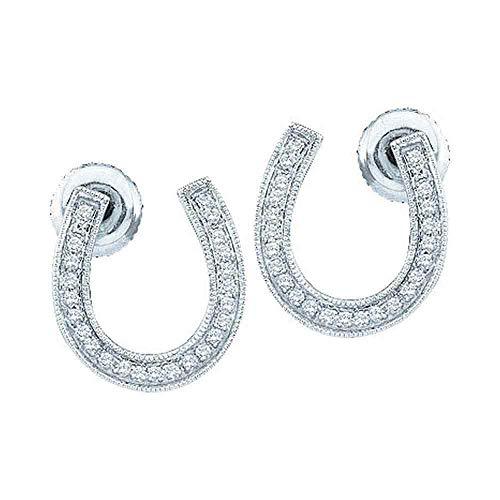 Diamond Ladies Ring Horseshoe (FB Jewels 10k White Gold Diamond Womens Horseshoe Lucky Screwback Stud Earrings 1/6 Cttw (I2-I3 clarity; H-I color))