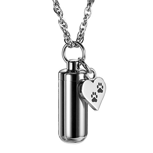 Pet Paw Heart Charm & Cylinder Memorial Urn Necklace Animal Cremation Jewelry ()