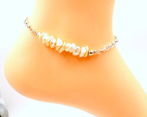 Keishi Freshwater Pearl Ankle Bracelet- Gemstone Bar Collection - Silver-plated Anklet - Freshwater Keishi Pearl