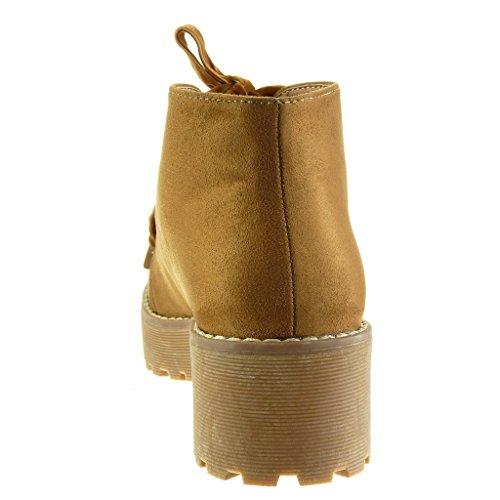 Angkorly Camel Rangers Femme Talon 5 CM Plateforme Chaussure Surpiqûres Finition Motard Mode Coutures Derbies Bloc Haut rSrFZq