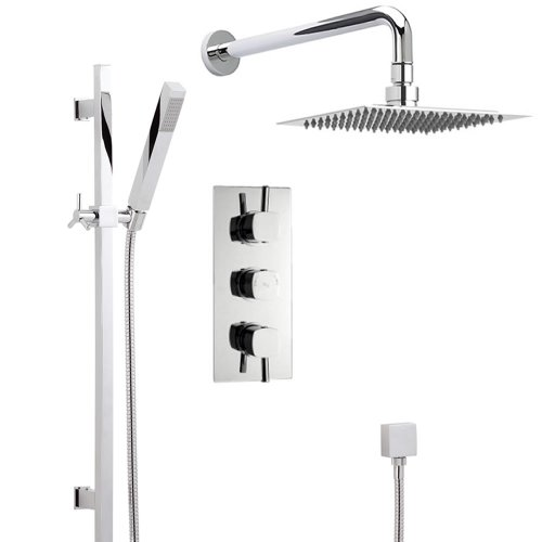 Hudson Reed New Complete Thermostatic Shower System 2 Outlets - Triple Diverter Valve Set With Square Rail Kit, Handset & Rain Easy Clean Head - Anti Scald Device - Chrome Finish