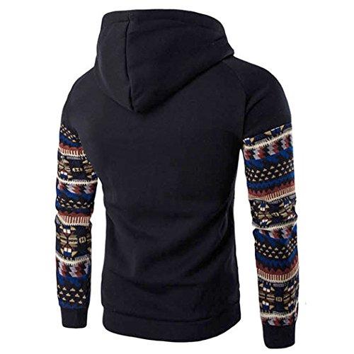 Tops con Outwear de de hombres manga Chaqueta ZARU Negro Sudadera retro con capucha Coat capucha los larga CgqOTPw