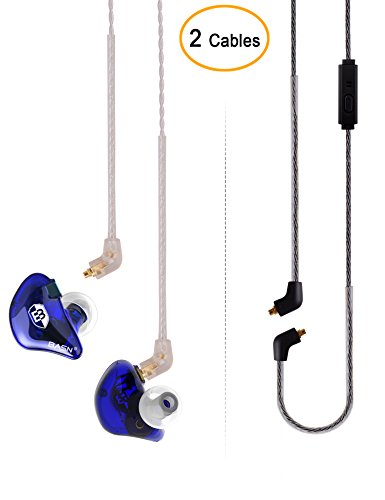 (BASN Bsinger+LUX Dual Drivers Singer Headphones (Earbuds/Earphones) with MMCX Detachable Cables, Noise-Isolating in-Ear Monitor with Microphone and Remote)