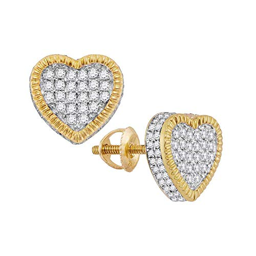 Diamond Heart Fluted Cluster Stud Earrings 7/8ct 10k Yellow Gold