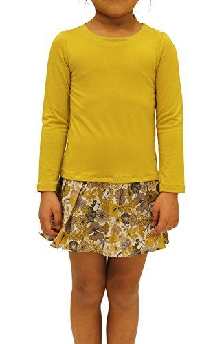 Ms Purple Girls' Floral Drop Waist Dress Large Mustard (Shirt Mustard Girl)