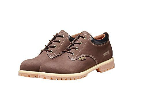 Jacata Men's Low-Cut Work Boots Water Resistant Boots Heavy Duty Natural Rubber Blend Soles (12, Brown)