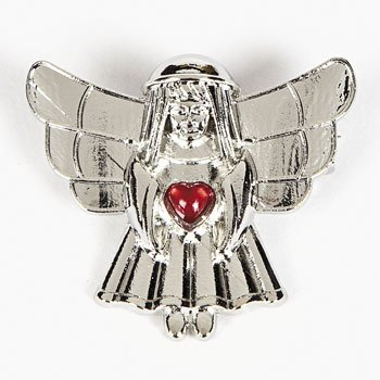One Dozen (12) - Pewtertone Angel Holding a Red Heart Pin