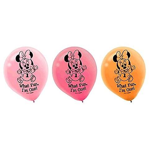 15-Piece Minnie's 1st Birthday Balloons, Pink - 1st Birthday Balloon