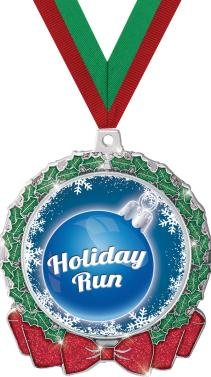 HOLIDAY MEDALS - 2.75'' Glitter Wreath Holiday Run Medal 50 Pack by Crown Awards