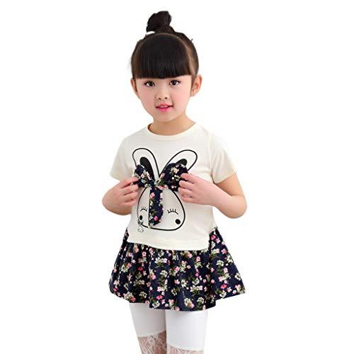 Baby Girls Dress Christening Party Formal Dress Floral Print Organic Dresses Sweet Rabbit Bow Floral Print Tutu 2-6Year Blue