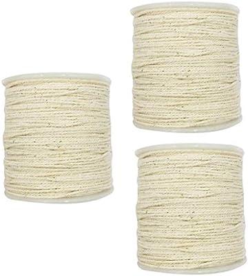 IPOTCH 3 Piezas 100 m 1 mm Cuerda de Algodón Rústico Trenzado ...