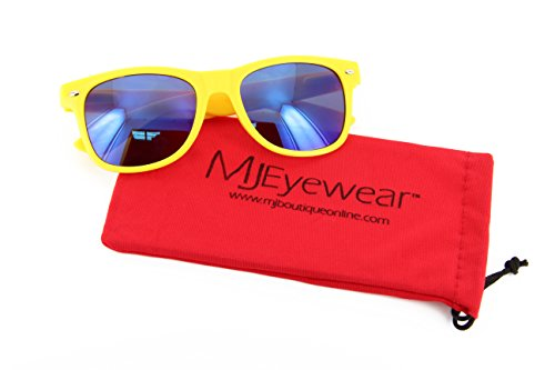 MJ Eyewear Neon Retro Sunglasses Color Mirror Lens (Yellow, Color Mirror )