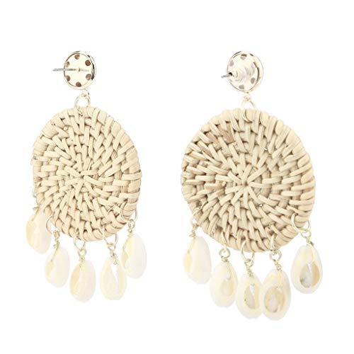 - Handmade Earrings for Women Boho Rattan Shell Straw Chandelier Statement Dangle Stud Earrings (Beige)