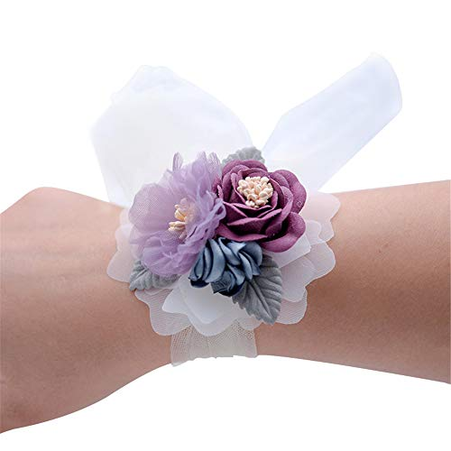 (Florashop Lavender Purple Wrist Corsage 2 Pcs Set Satin Rose Wedding Bridal Corsage Bridesmaid Wrist Flower Corsage Flowers Wristband for Wedding Prom Party Homecoming Graduation Dancing)