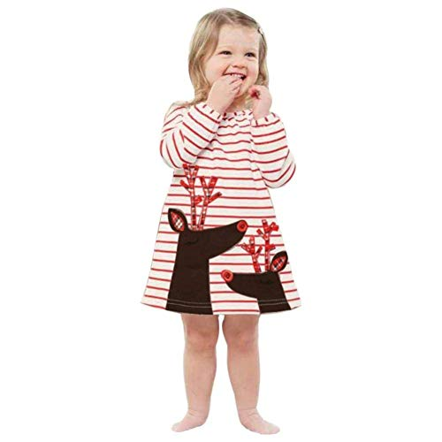 Noubeau Toddler Baby Girls Christmas Outfits Striped Santa Claus Xmas Deer Print Party Dress Clothes Outfit (White, 12-24M)