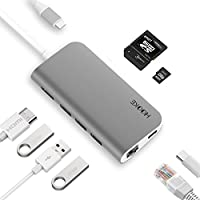 tesha USB-C Hub with HDMI, 3 USB 3.0 Ports, Type-C Power Delivery Throughput Port, Gigabit Ethernet Adapter, SD/Micro Card Reader for MacBook Pro, ChromeBook, Dell XPS 13 and More (Space Gray)