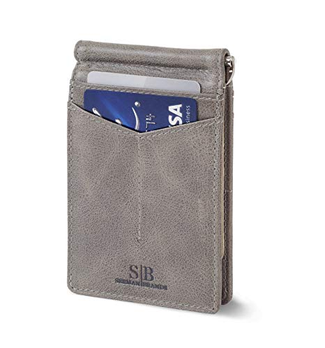 Travel Wallet RFID Blocking Wallet Bifold Slim Genuine Leather Thin Minimalist Front Pocket Wallets for Men Money Clip - Made From Full Grain Leather (Slate Gray Rogue)