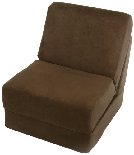 Polyester Suede Chair (Fun Furnishings Teen Chair with Pillow, Brown Micro Suede)