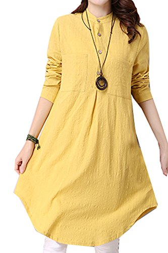 P Ammy Fashion - Camisas - Button Down - para mujer amarillo