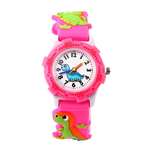 Watch Plastic Pink (Jewtme Cute Toddler Children Kids Watches Ages 3-8 Analog Time Teacher 3D Silicone Band Cartoon Watch for Little Girls Boys (Dinosaur-Pink-Plastic Shell))