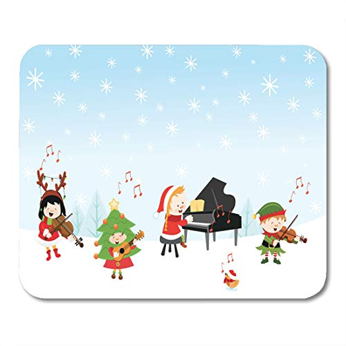 Emvency Mouse Pads Santa Music Kids Playing Christmas Songs Concert Winter Elf Mouse Pad for notebooks, Desktop Computers mats 9.5