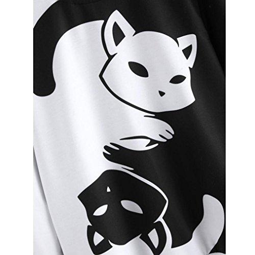 gatos para Sudadera estampado capucha Internet con larga mujer y de manga Negro con PWpOq