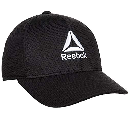Reebok Mens Delta Logo Stretch Fit Cap Hat (One Size, Black) ()
