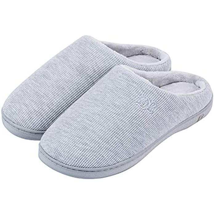 DL Womens Memory Foam Slippers, Slip on House Slippers for Women Indoor Outdoor, Women's Bedroom Slippers Non-Slip Hard Sole, Warm Soft Flannel Lining Woman Slippers Size Purple Blue Pink Grey Navy