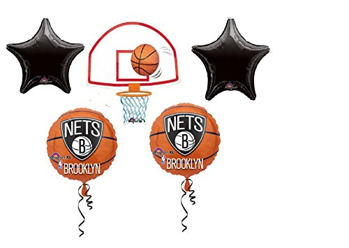 fan products of 5 pc BALLOON set NEW BASKETBALL nba NY NETS brooklyn PARTY birthday FAVORS gift DECORATION