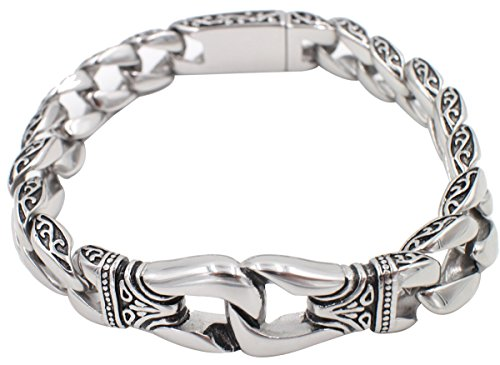 Fashion Amazing Man Silve 316L Stainless Steel Punk Curb Chain Bracelet Bangles 100% 8.5 Inch