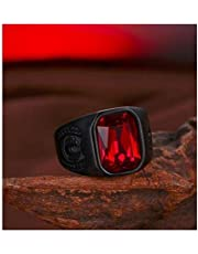 Men's Ring Black with Red Zircon Stone Size 9