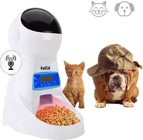PetCul Automatic Cat Feeder 3L Pet Food Dispenser Feeder for Dog Cat 4 Meal, Voice Recorder Timer Programmable, Portion Control