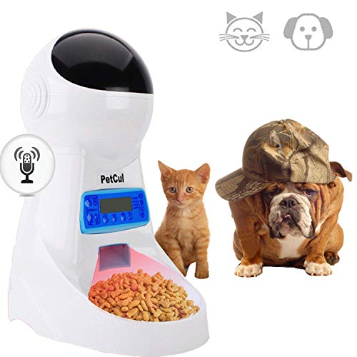 PetCul Automatic Cat Feeder 3L Pet Food Dispenser Feeder for Medium & Large Cat Dog--4 Meal, Voice Recorder & Timer Programmable, Portion Control
