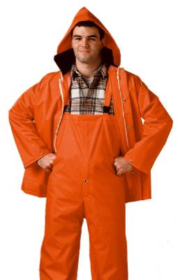 Tingley S63219.3X 2 Piece .35mm PVC/Polyester Jacket Storm Fly Front Overalls with Attached Hood, Size 3X, Blaze Orange