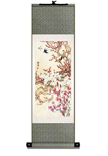 Pjinge Silk Scroll Painting Wall Hanging Chinese Artwork (04-Spring Swallow)