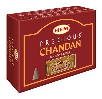HEM -Precious Chandan Incense Cones - Pack of 12